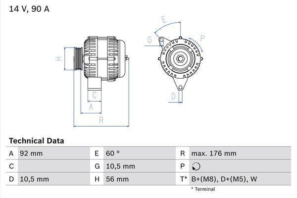 BOSCH - Alternator/Dynamo - 0 986 038 170